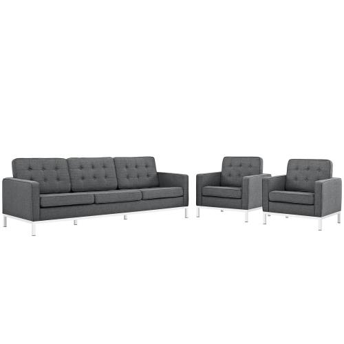 Loft 3 Piece Upholstered Fabric Sofa and Armchair Set in Gray