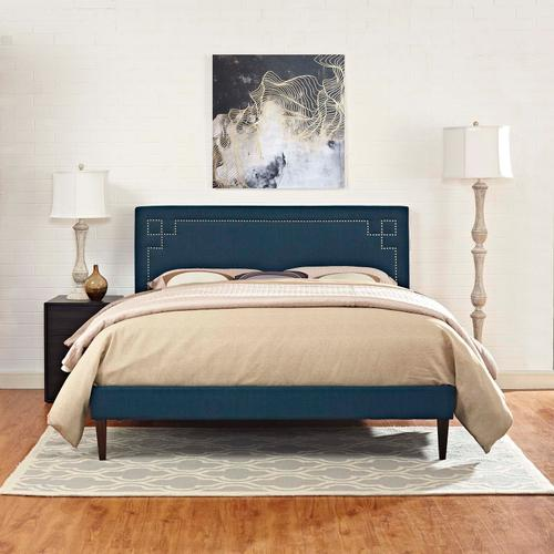 Modway - Ruthie King Fabric Platform Bed with Squared Tapered Legs in Azure