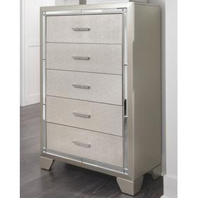 Lonnix Five Drawer Chest Silver Finish