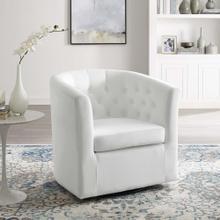 Prospect Tufted Performance Velvet Swivel Armchair in White