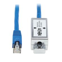 Cat6a Junction Box Cable Assembly - Surface Mount, Shielded, PoE+, RJ45/110 Punchdown, 18 in., Blue