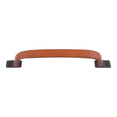 Atlas Homewares - Hamptons Saddle Leather Pull 6 5/16 Inch (c-c) - Aged Bronze