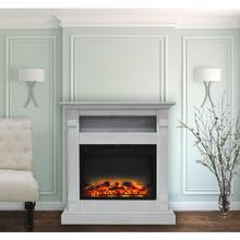 Cambridge Sienna 34 In. Electric Fireplace w/ Enhanced Log Display and White Mantel, CAM3437-1WHTLG2
