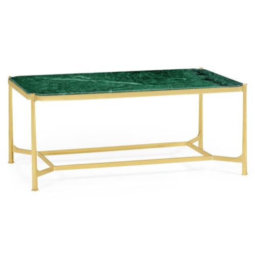 Green Napoly marble & polished solid brass rectangular coffee table