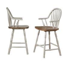 "DLU-CG-B3024A-GO-2  24"" Windsor Bar and Counter Stool with Arms  Distressed Gray and Brown Wood  Set of 2"