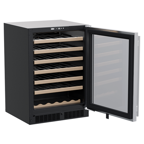Marvel - 24-In Built-In Single Zone Wine Refrigerator With Wine Cradle with Door Style - Stainless Steel Frame Glass