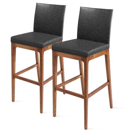 Devon KD Fabric Counter stool Walnut Legs, Night Shade