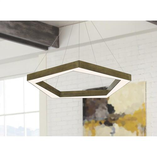 Metz dimmable Integrated LED polygon pine wood pendant fixture. 38W, 3000 lumen, 3000K