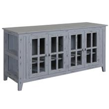 Gray Painted Distressed Wood  4 Door Adjustable Interior Shelves with Wire Management and End Cap A