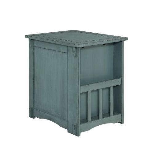 1-door and 2 Open Shelves Side Table, Teal