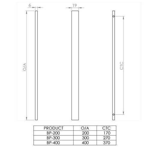 Designer Doorware - Neo Blade Pull 19 x 6mm, BPB-300, Polished Brass Unlacquered