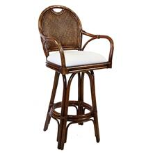 "Legacy Indoor Swivel Rattan & Wicker 24"" Counter Stool in TC Antique Finish with Cushion"