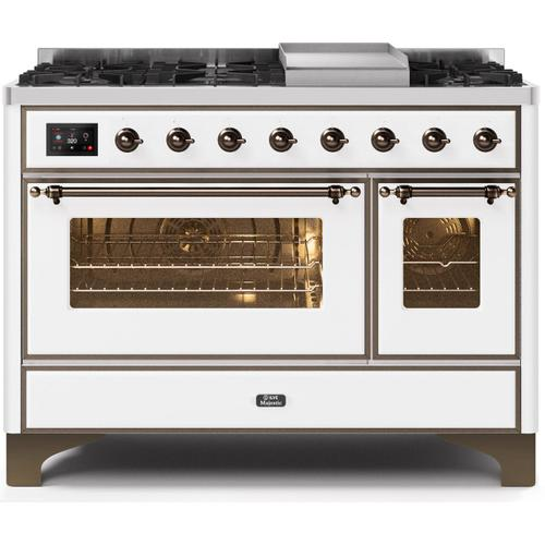 Majestic II 48 Inch Dual Fuel Natural Gas Freestanding Range in White with Bronze Trim
