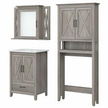 View Product - 24W Bathroom Vanity Sink with Mirror and Over Toilet Storage Cabinet, Driftwood Gray