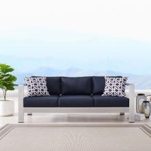 Shore Outdoor Patio Aluminum Sofa in Silver Navy