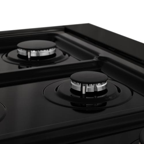 """Zline Kitchen and Bath - ZLINE 48"""" Porcelain Gas Stovetop in Black Stainless with 7 Gas Burners and Griddle (RTB-48) [Color: Black Stainless Steel With Brass Burners]"""