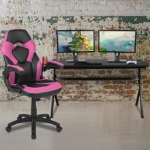 Gaming Desk and Pink\/Black Racing Chair Set \/Cup Holder\/Headphone Hook\/Removable Mouse Pad Top - 2 Wire Management Holes