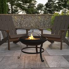 """See Details - 22"""" Round Wood Burning Firepit with Mesh Spark Screen and Poker"""