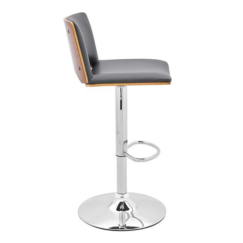 Armen Living - Thierry Adjustable Swivel Gray Faux Leather with Walnut Back and Chrome Bar Stool