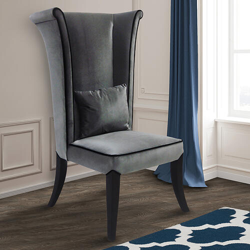 Armen Living - Mad Hatter Dining Chair In Gray Rich Velvet