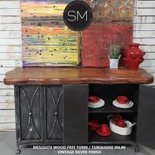 """See Details - Handcrafted Mesquite Top - Metal Buffet Cabinet Model 1239 C - Dark Rust Brown / Rounded Corners / 72""""x 24"""""""