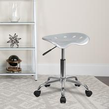 View Product - Vibrant Silver Tractor Seat and Chrome Stool