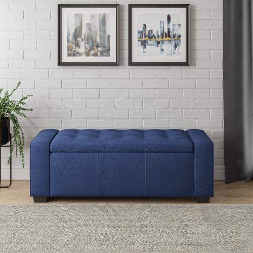 Storage Bench in Navy Fabric