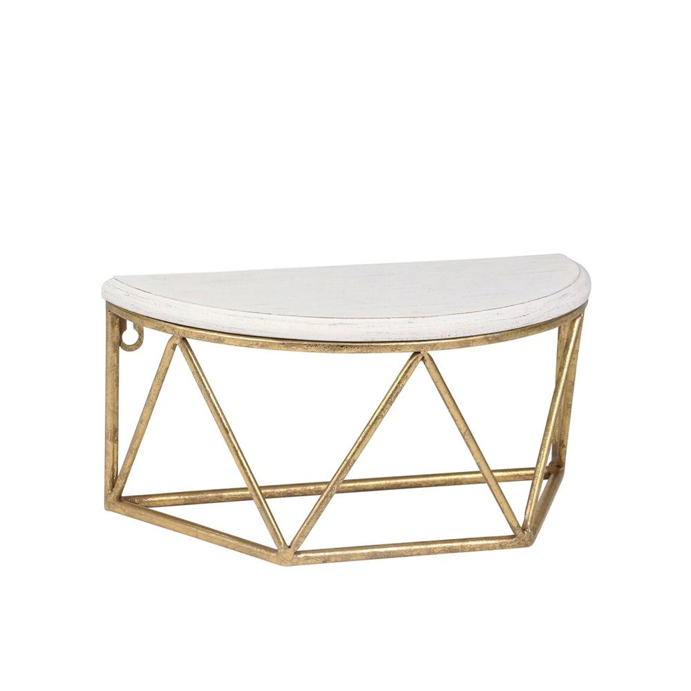 """See Details - Wood / Metal 12"""" L Demilune Wall Shelf, White"""