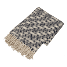 Navy & Cream Herringbone Throw