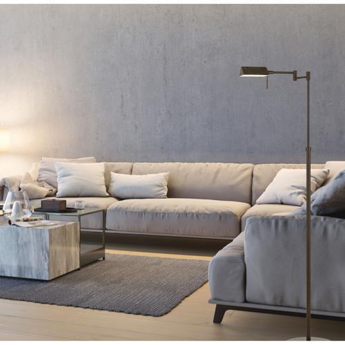 Clemson Metal LED 10W, 780 Lumen, 3K Pharmacy Swing Arm Adjustable Floor Lamp With Dimmer Switch