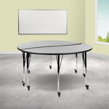 """See Details - 2 Piece Mobile 60"""" Circle Wave Flexible Grey Thermal Laminate Adjustable Activity Table Set"""