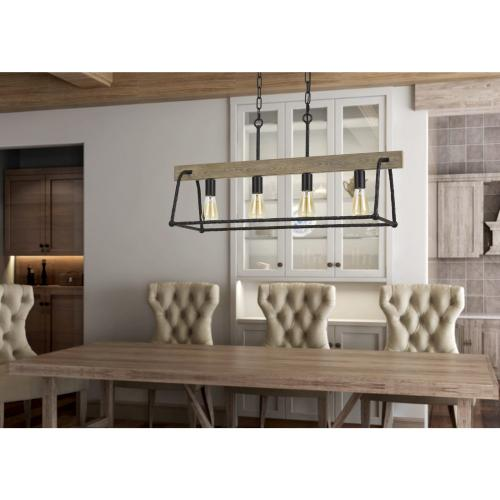 Lockport Hang Forged Metal/Wood Island Chandelier (Edison Bulbs Not included)