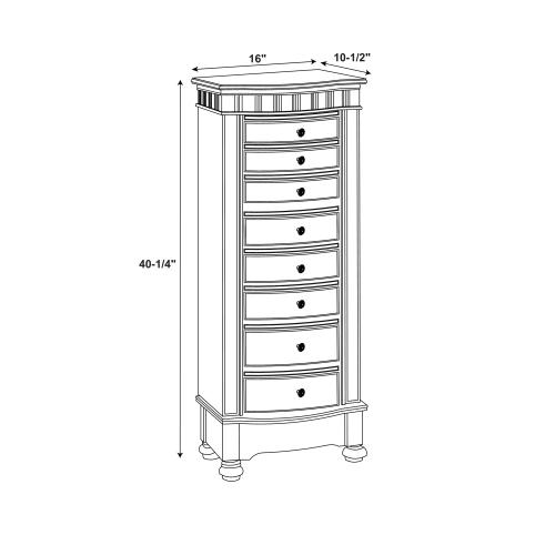 8-drawer and 2 Swing Side Doors Jewelry Armoire, Coffee