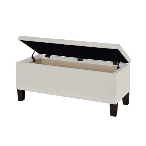 Accentrics Home - 42 Inch Hinged Top Storage Bench w/ Diamond Tufted Seat in Light Gray