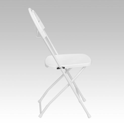 Flash Furniture - HERCULES Series 650 lb. Capacity White Plastic Fan Back Folding Chair