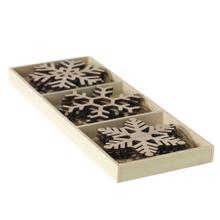 "3.25""- Assorted set of 12 Woodflake Ornament"