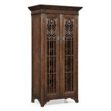 See Details - Dark oak gothic wine cabinet tall