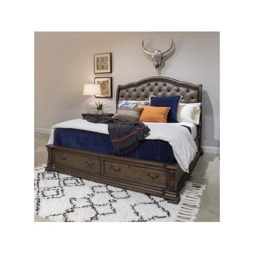 Complete King Sleigh Storage Bed w/Upholstered HB