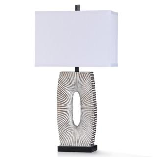 MC ALLEN TABLE LAMP  17in w. X 33in ht. X 10in d.  Painted Silver Starburst Design Table Lamp with