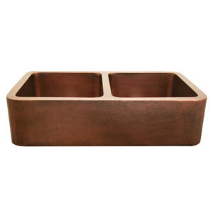 """Copperhaus rectangular double bowl undermount sink with a smooth or hammered front apron and 3 1/2"""" center drains - 14 gauge copper sink. Product Image"""