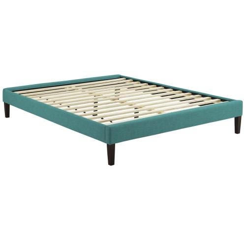 Tessie Full Fabric Bed Frame with Squared Tapered Legs in Teal