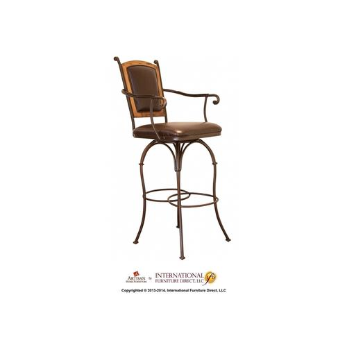 "30"" Swivel Barstool Armless - Pine wood frame on Back, with Faux Leather seat and back"