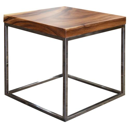 Lamp Table, Available in Suar & Chrome and Natural & Chrome Finish.
