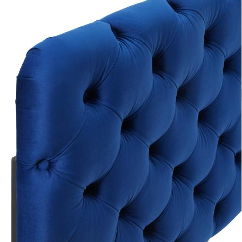 Lizzy Tufted Full/Queen Performance Velvet Headboard in Navy