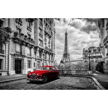 Framed - Red Car In Paris