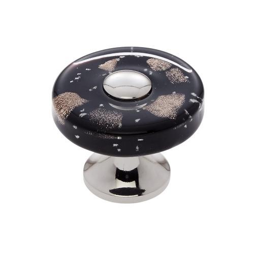 Polished Nickel 35 mm Black Flat Round Knob
