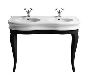 Isabella Collection large, double basin china console with oval bowl, overflow, and black wood leg supports. Product Image