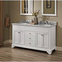 """See Details - Framingham 60"""" Double Bowl Vanity - Polar White"""