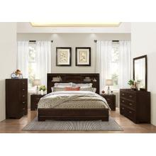 Montana 6-PC Walnut Modern Wood Bedroom Set King and Queen Bed Dresser&Mirror 2 Nightstands Chest, King