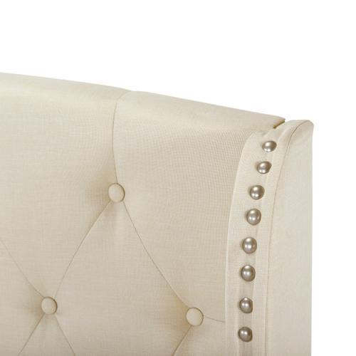 Accentrics Home - Twin Tufted Wing Bed in - Linen